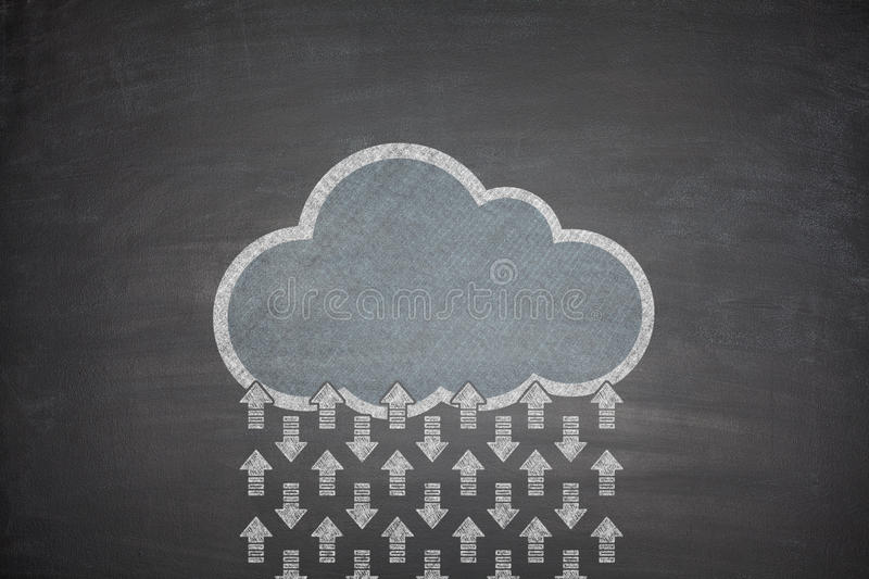 Cloud computing concept on Blackboard royalty free stock image