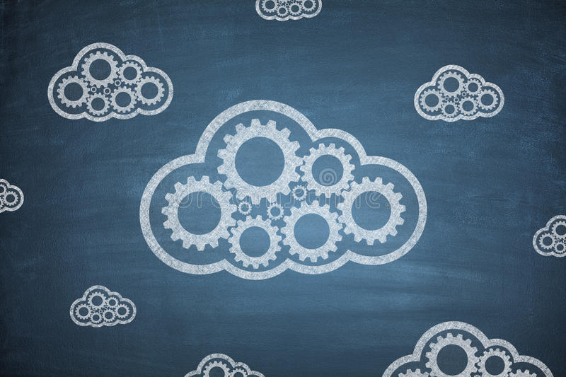 Cloud computing concept on Blackboard stock photography