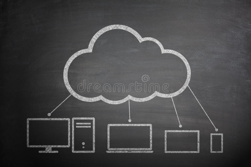 Cloud computing concept on Blackboard stock image