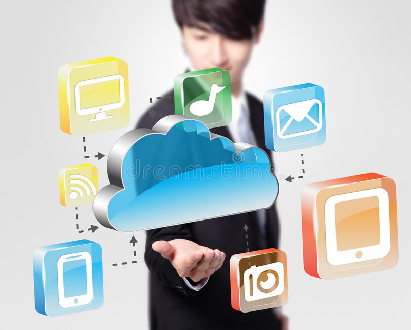 Cloud computing concept. Business man look cloud computing icon in the air royalty free stock photography