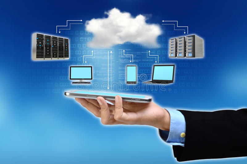 Cloud Computing Concept. A businessman hand holding and showing the concept of cloud computing internet technology in his hand