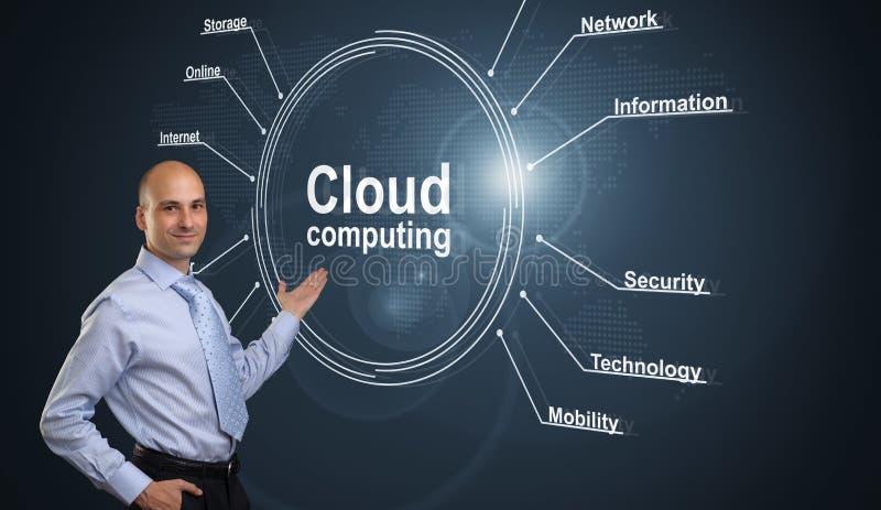 Cloud computing concept. Businessman presenting cloud computing concept royalty free stock image
