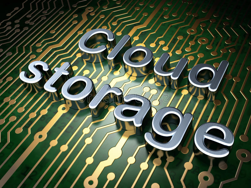 Cloud computing concept: Cloud Storage on circuit board background. Cloud computing concept: circuit board with word Cloud Storage, 3d render royalty free stock image