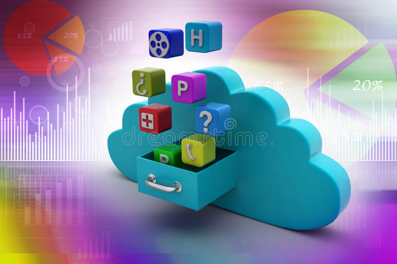 Cloud computing concept. In color background royalty free illustration