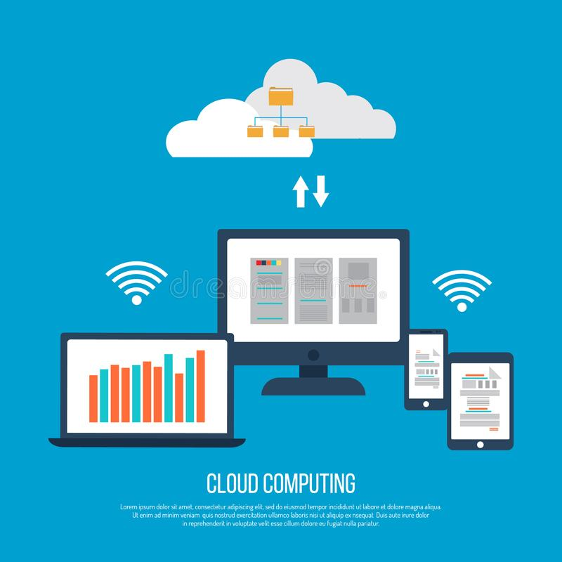 Cloud computing concept with computer vector illustration