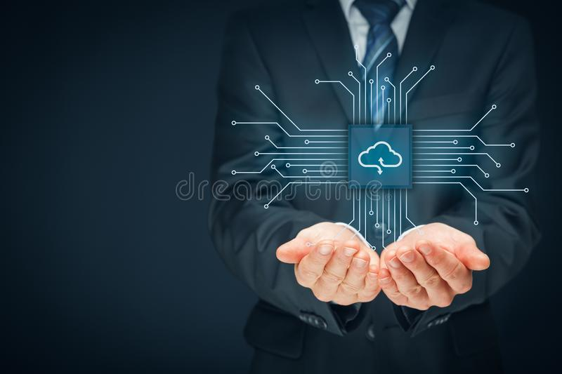 Cloud computing concept. Connect devices to cloud. Businessman or information technologist with cloud computing icon royalty free stock image