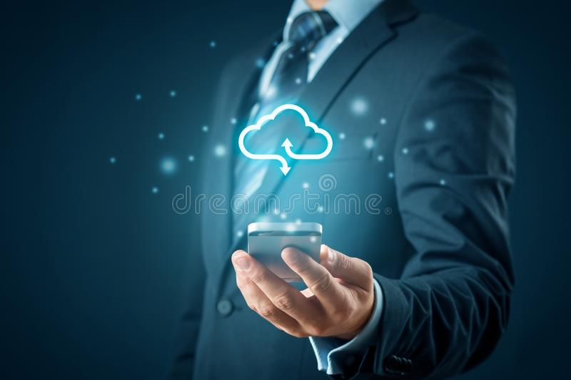 Cloud computing concept. Connect smart phone to cloud. Businessman or information technologist with cloud computing icon and smart phone stock photos