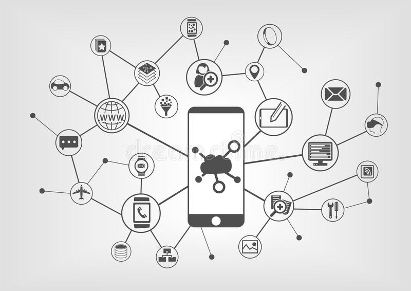 Cloud computing concept for connected mobile devices. Vector icons on grey background vector illustration