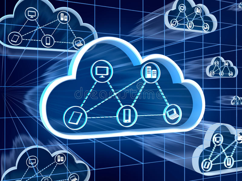 Cloud computing concept. 3d render stock illustration