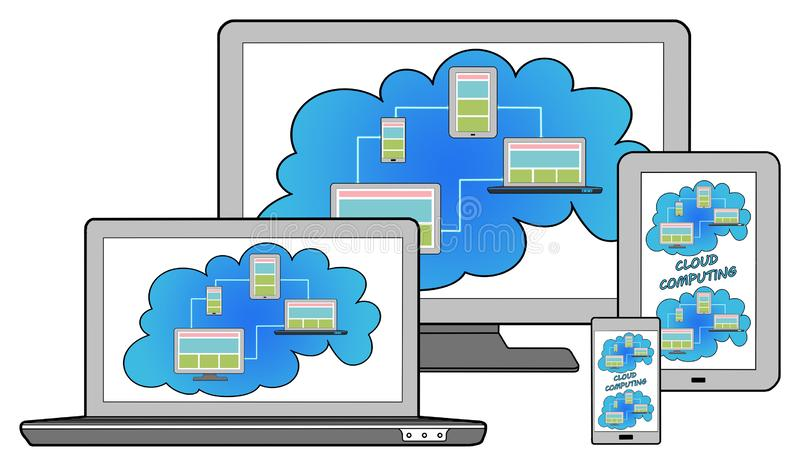 Cloud computing concept on different devices stock illustration