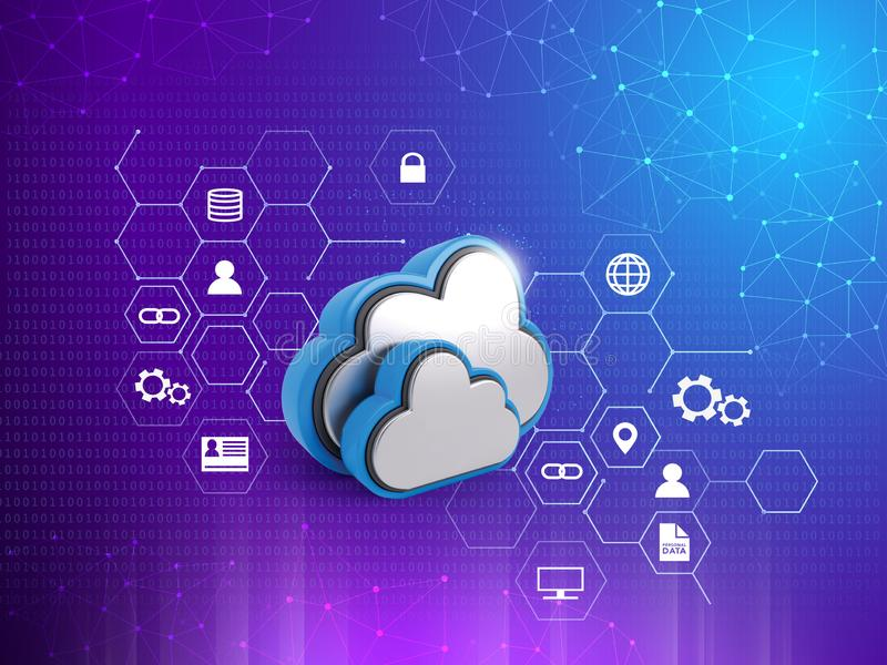 Cloud Computing Concept, Graphs, connected lines, 3D rendering abstract background royalty free illustration