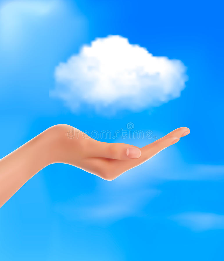 Cloud computing concept Hand with blue sky. And white cloud Vector vector illustration
