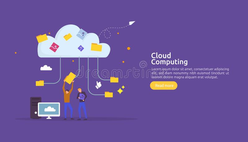 Cloud computing concept. Hosting network service or Online database storage system with people character for web landing page royalty free illustration