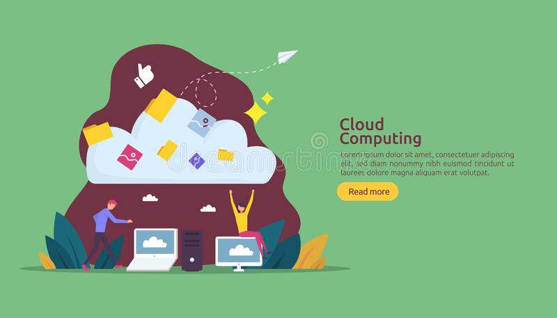 Cloud computing concept. Hosting network service or Online database storage system with people character for web landing page. Template, banner, presentation vector illustration