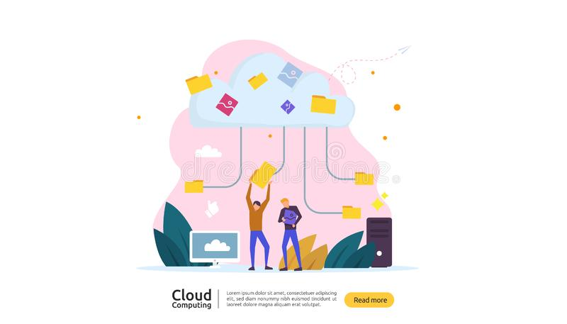 Cloud computing concept. Hosting network service or Online database storage system with people character for web landing page. Template, banner, presentation stock illustration