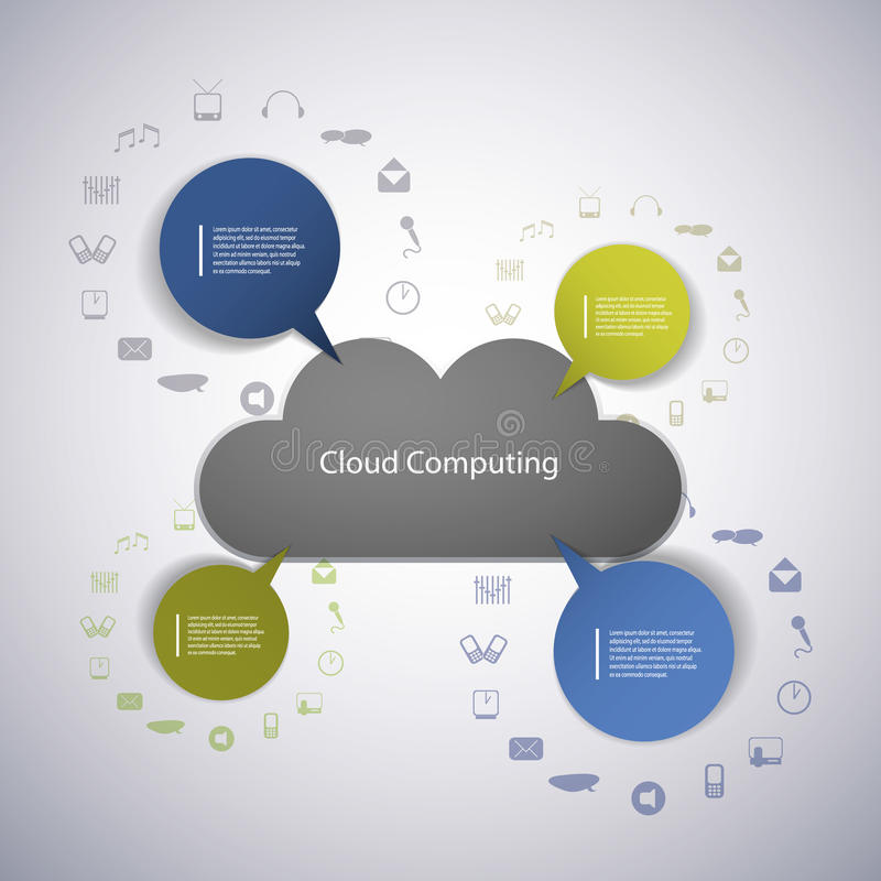 Cloud computing concept with icons stock illustration