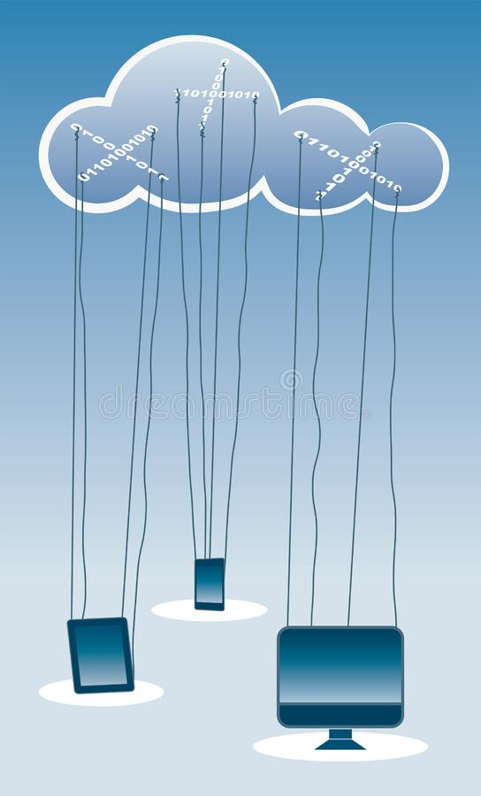 Cloud computing concept illustration like a marionette theatre stock photo