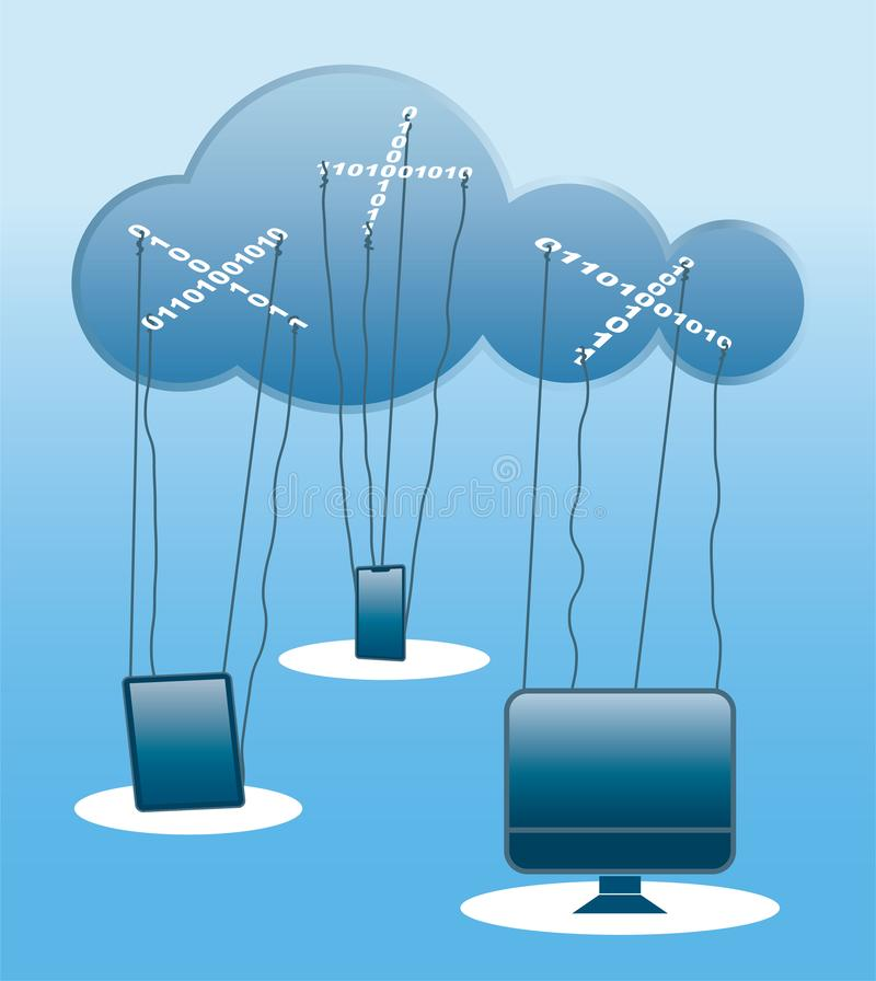 Cloud computing concept illustration like a marionette theatre stock photos