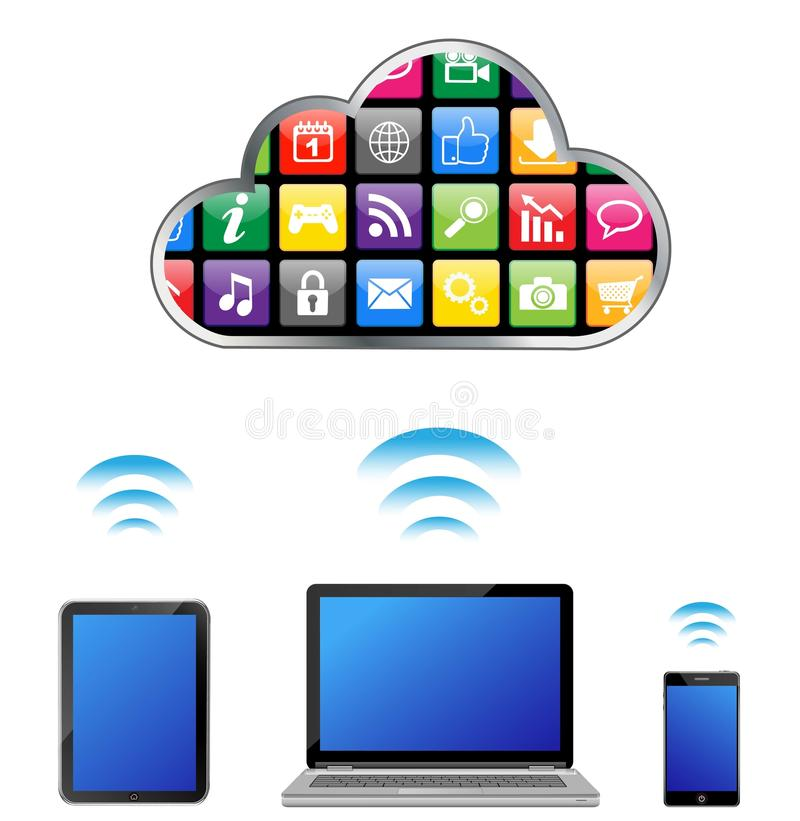 Cloud computing concept. This image was made by Adobe Illustration stock illustration