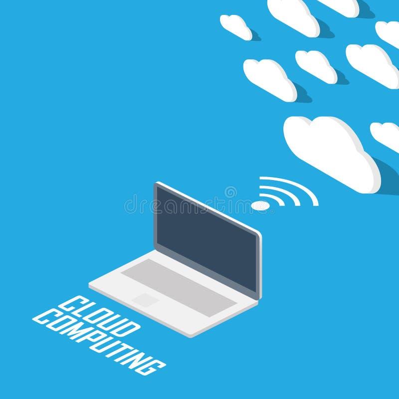 Cloud computing concept infographics. Technology presentation in modern isometric flat design. stock illustration