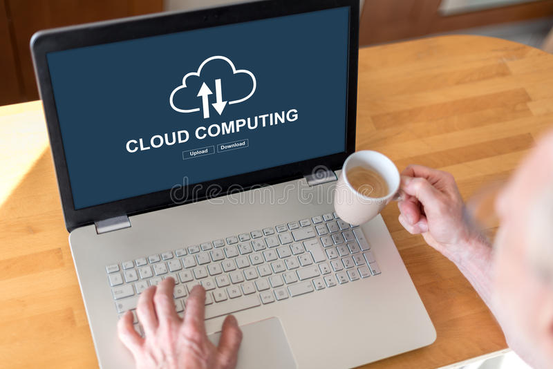 Cloud computing concept on a laptop royalty free stock image