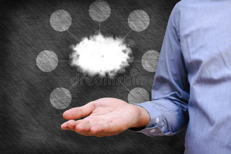 Cloud computing concept, Man hand holding cloud and network link stock photos