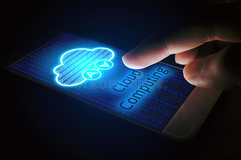 Cloud computing concept, Man using smartphone with virsual scree. N stock photography