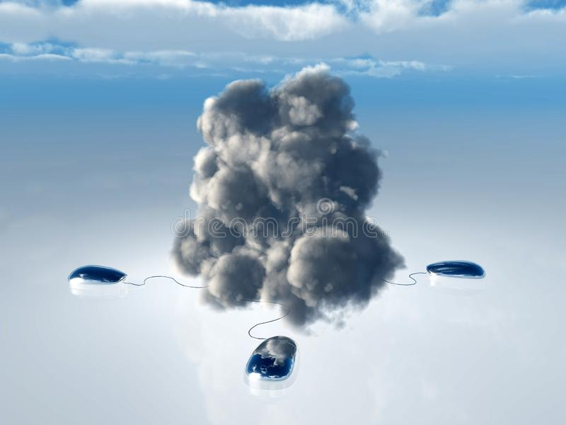 Cloud Computing. Concept with Multiple Computer Mice and Cords leading into 3D Rendered Cloud stock illustration
