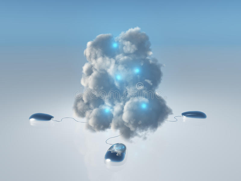Cloud Computing. Concept with Multiple Computer Mice and Cords leading into 3D Rendered Cloud vector illustration