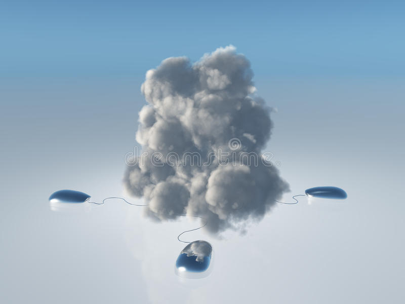 Cloud Computing. Concept with Multiple Computer Mice and Cords leading into 3D Rendered Cloud. This image created in entirety by me and is entirely owned by me stock illustration