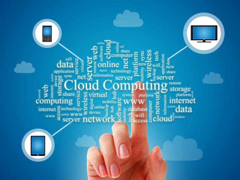 Cloud computing. Cloud computing concept over blue background