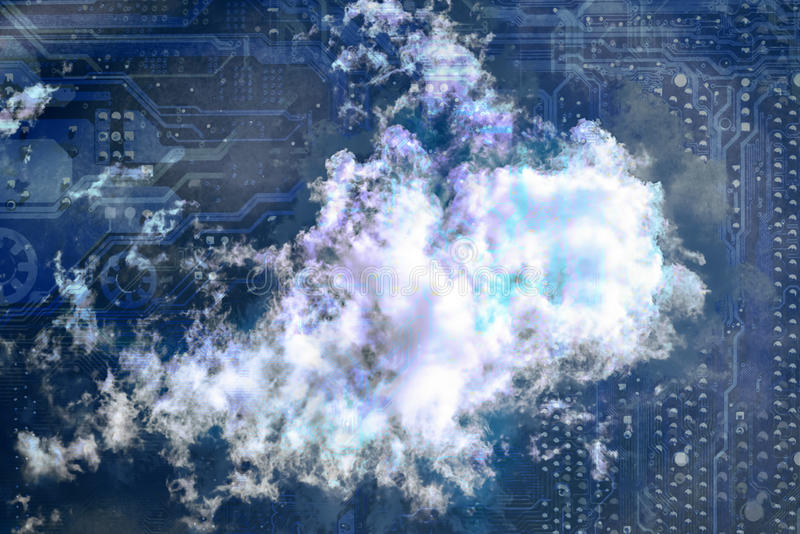 Cloud computing concept. Silhouette of motherboard on background of cloud on blue sky royalty free stock image