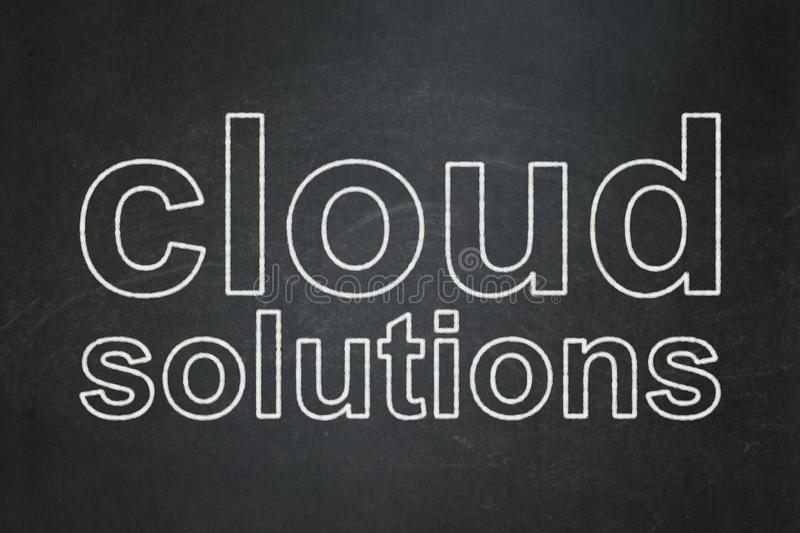Cloud computing concept: Cloud Solutions on chalkboard background royalty free stock images