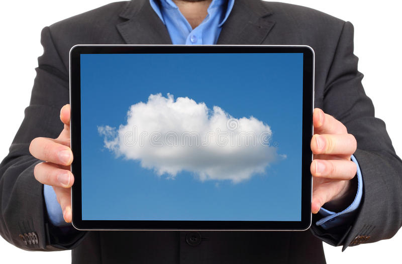 Cloud computing concept. Using cloud services on tablet stock photo