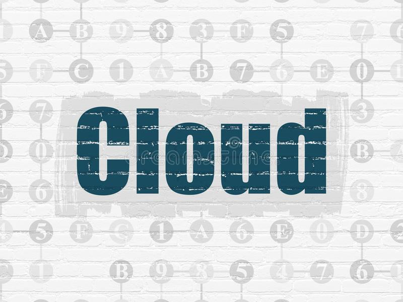Cloud computing concept: Cloud on wall background. Cloud computing concept: Painted blue text Cloud on White Brick wall background with Scheme Of Hexadecimal vector illustration