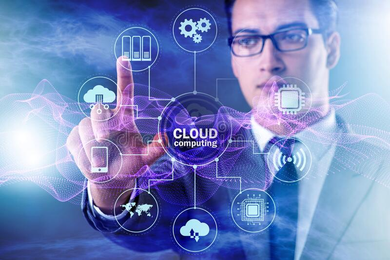 Cloud computing concept with woman pressing buttons royalty free stock images
