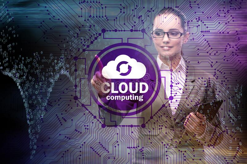 Cloud computing concept with woman pressing buttons stock image