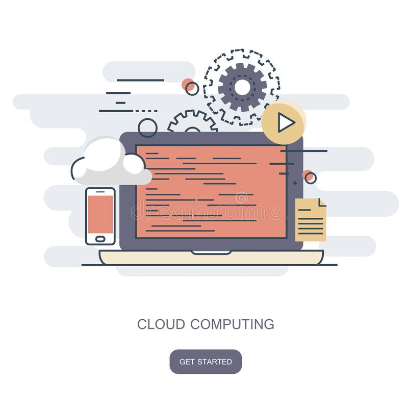 Cloud computing concept. Work desk with computer technology, cell phones and tablets. Flat vector royalty free illustration