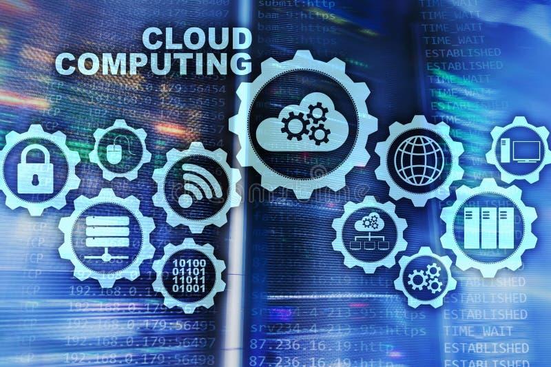 Cloud Computing, concepto de la conectividad de la tecnolog?a en fondo del sitio del servidor imágenes de archivo libres de regalías