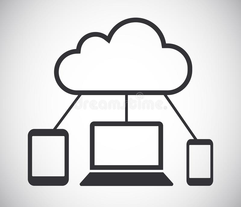 Cloud computing connected devices network vector icon stock illustration