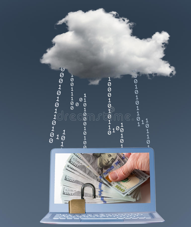 Cloud computing connected laptop with ransomware. Modern laptop computer connected to cloud computing with ransomware locking applications. Hand with money stock photo