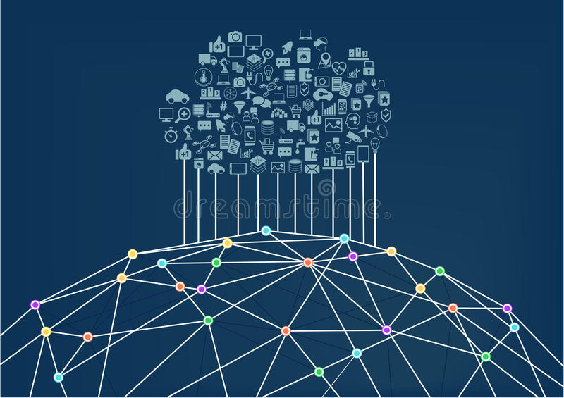 Cloud computing connected to the world wide web / internet. Vector illustration background for information technology vector illustration