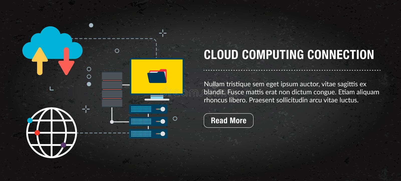 Cloud computing connection, banner internet with icons in vector stock illustration