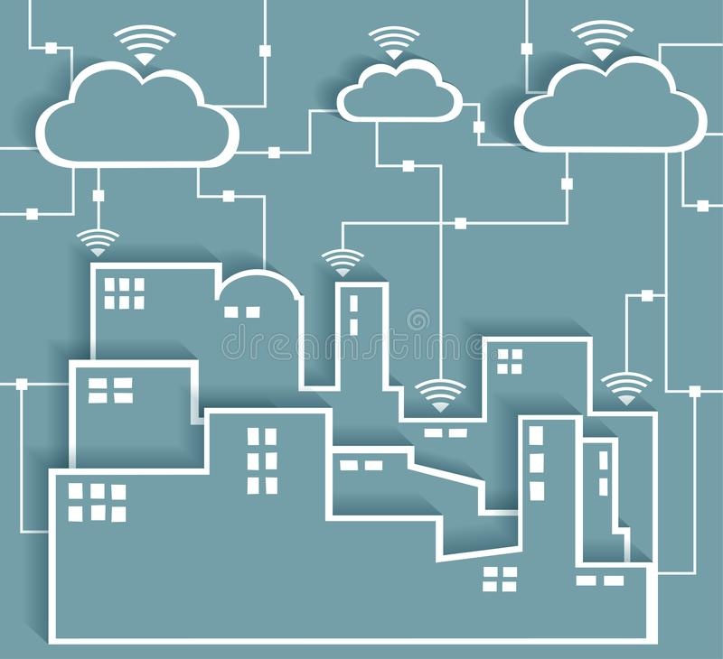 Cloud Computing Connectivity Paper Cutout Stickers City Network. Wifi Internet Connectivity concept, EPS10 Grouped and Layered vector illustration