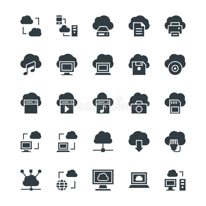 Cloud Computing Cool Vector Icons 1. Cloud Computing icons for your personal files, entertainment, work, music, movies and more. Storage is now in the cloud, so vector illustration