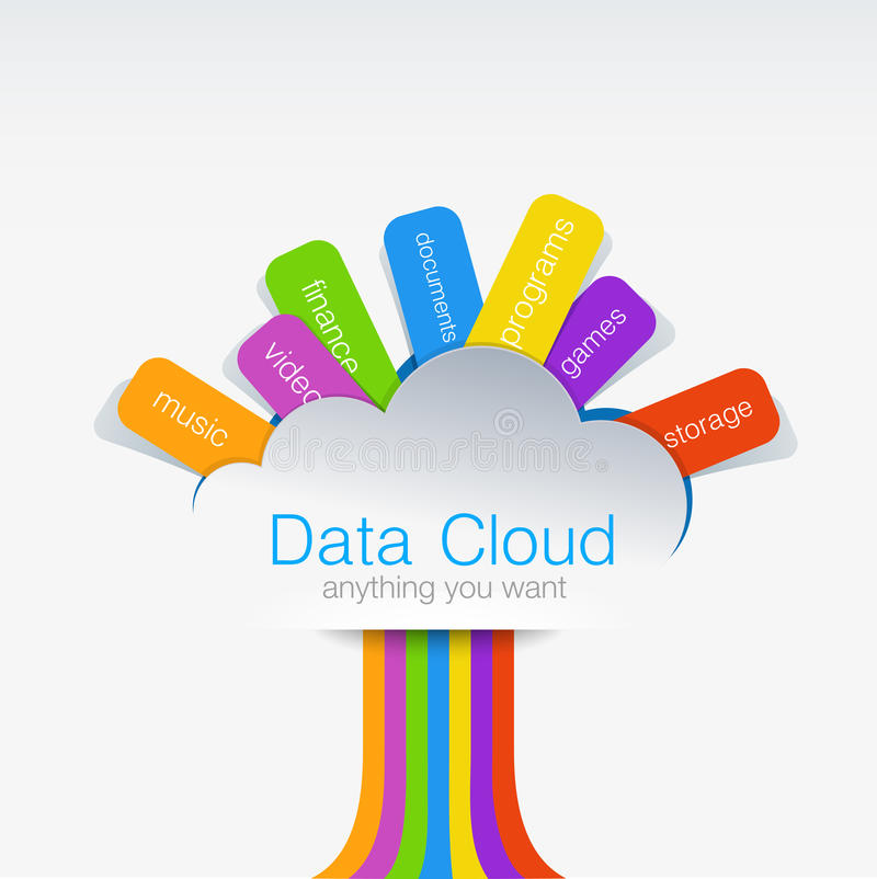 Cloud computing Creative design concept of data tr stock illustration