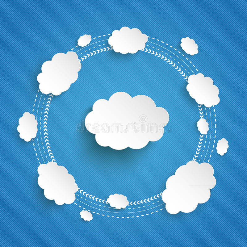 Cloud Computing Cycle Infographic Blue Sky. Infographic design on the grey background royalty free illustration