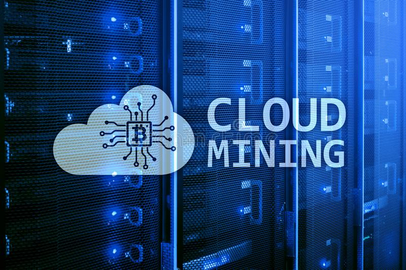 Cloud computing, data or cryptocurrency Bitcoin, Ethereum mining in data center. Server room background royalty free stock photos