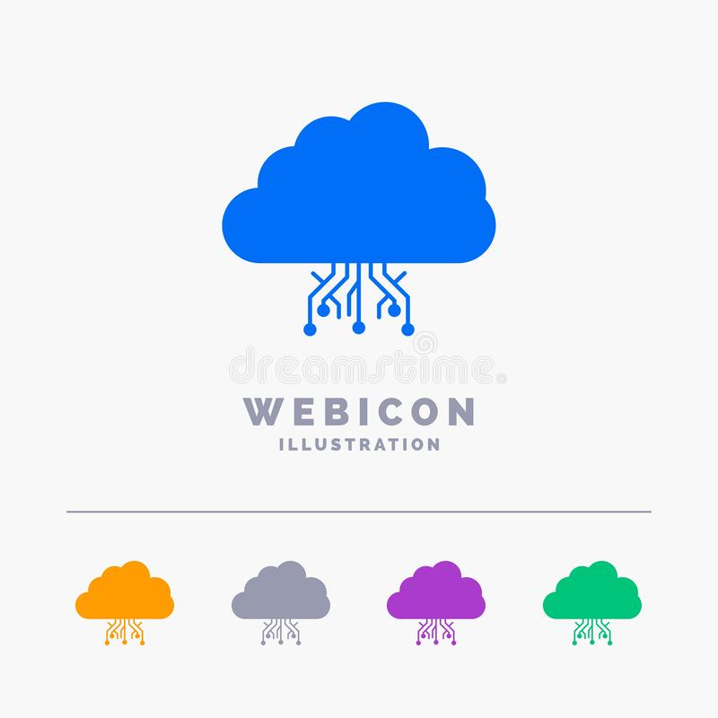 Cloud, computing, data, hosting, network 5 Color Glyph Web Icon Template isolated on white. Vector illustration. Vector EPS10 Abstract Template background royalty free illustration