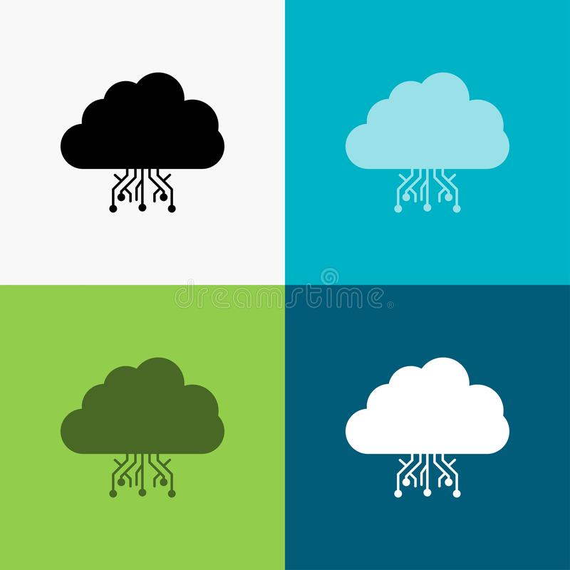 Cloud, computing, data, hosting, network Icon Over Various Background. glyph style design, designed for web and app. Eps 10 vector. Illustration. Vector EPS10 royalty free illustration